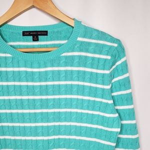 Brooks Brothers 346 Turquoise Striped Sweater